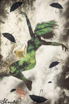 silhouette falling umbrella levitation editing