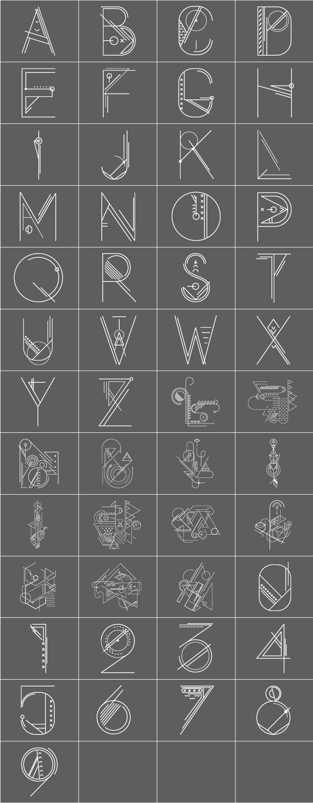 blueprint alphabet fonts