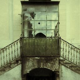 abandoned gothic stairway factory