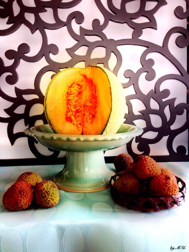 STILL LIFE.     #stilllife  #fruit  #melon  #litchi  #food  #photography  #Orton  #Ortoneffect