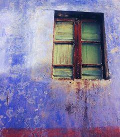 blue window colorful hdr retro